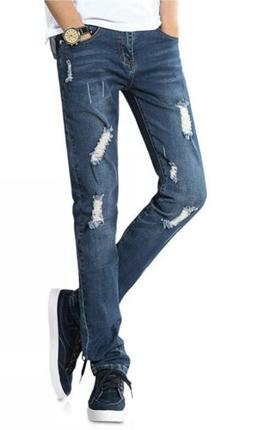 Demon & Hunter- Men's Skinny Fit Ripped Blue Jeans