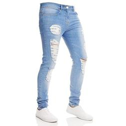 Binmer Men Denim Jeans Skinny Destroyed Hole Rip Slim Trouse