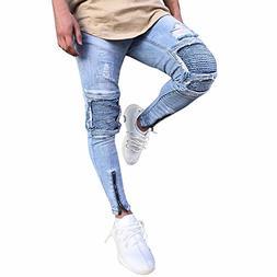 Emerayo Denim Pants for Men Loose Fit,Men Slim Biker Zipper