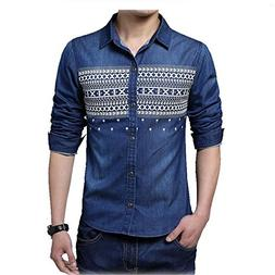 Shining4U New Mens denim Shirts Casual Long Sleeve Youngster