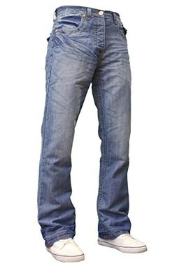 APT Mens Designer Branded Basics Regular Fit Bootcut Jeans,
