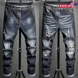 Designer Men's Moto Biker Jeans Straight Slim Fit Denim Pant