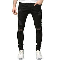 Enzo Mens Designer Ripped Stretch Skinny Distressed Jeans