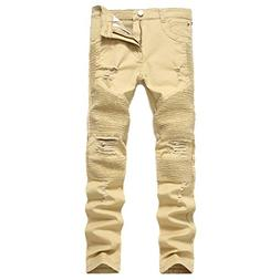 Bruce Lin Men's Fashion Destroyed Elasticity Skinny Ripped D