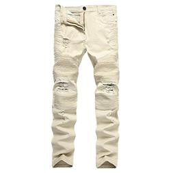 Pishon Men's Destroyed Jeans Plain Stretch Tapered Leg Distr