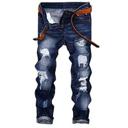 Pishon Men's Distressed Jeans Casual Bleached Straight Fit P