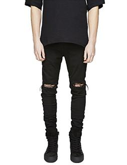 Pishon Men's Distressed Jeans Washed Stretchy Tapered Leg wi