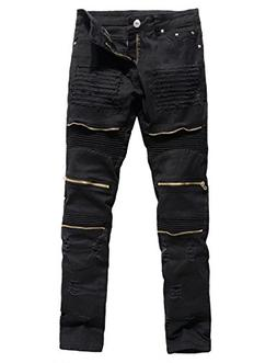 Men's Distressed Ripped Biker Moto Denim Pants Slim Fit Zipp