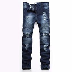 Kmety Men's Distressed Ripped Biker Slim Jeans Stretched Mot