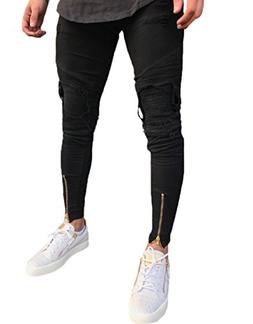 Men's Distressed Ripped Slim Fit Moto Biker Jeans Skinny Zip