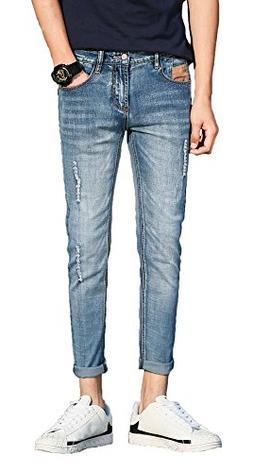 Plaid&Plain Men's Distressed Skinny Jeans Ripped Jeans for G