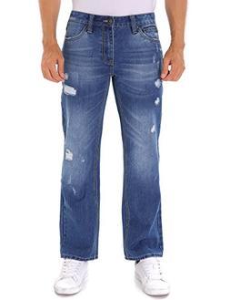 Indigo alpha Ripped Regular Straight Fit Denim Jeans for Men