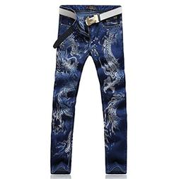 sonder Men's Fashion Dragon Print Jeans Male Colored Drawing