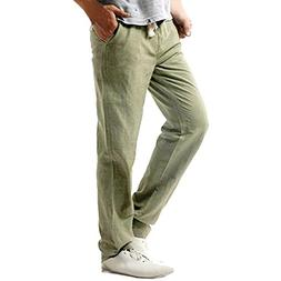 Easytoy Men's Drawstring Casual Beach Trousers Linen Summer