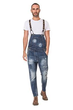 YT-Jeans Mens Drop Bib Distressed Denim Bib-Overalls Detacha