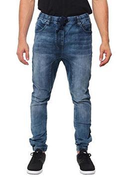 Victorious Mens Drop Crotch Jogger Denim Pants JG803 - DARK