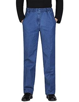 IDEALSANXUN Men's Elastic Waist Denim Solid Casual Pants