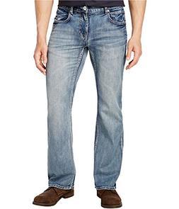 I-N-C Mens Faded Boot Cut Jeans Blue 30x30