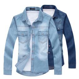 d333d56a602 Editorial Pick Fashion Men Denim Jeans Shirt Casual Long Sleeve Slim Fit St
