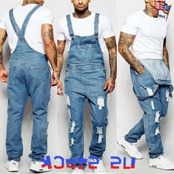 Fashion Men Jeans Denim Pants Boys Casual Ripped Bib Jumpsui