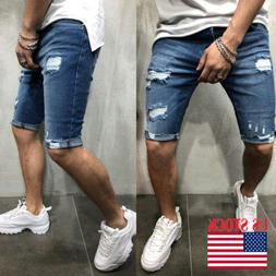 Fashion Men's Ripped Skinny Jeans Destroyed Frayed Slim Fit