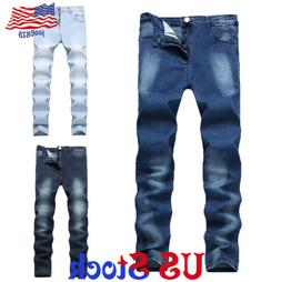 Fashion Men's Straight Washed Denim Long Trousers Slim Fit S