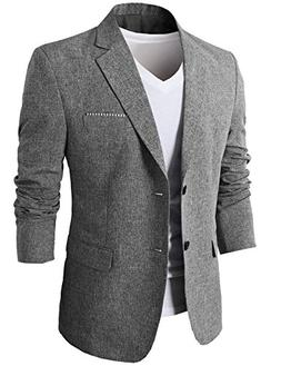 H2H Mens Fashionable Tow Buttons Closure Casual Business Sui