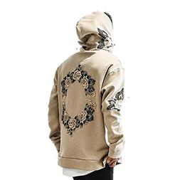 JannyBally Men Floral Embroidered Hip Hop Long Sleeve Fashio