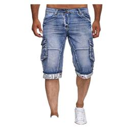 KIMSERE <font><b>Men</b></font> Summer Cargo Denim Shorts Wi