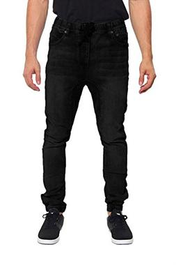G-Style USA Mens Drop Crotch Jogger Denim Pants - BLACK - La