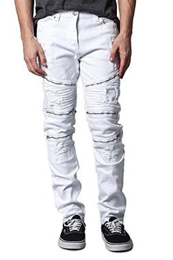G-Style USA Men's Faded Wash Distressed Denim Biker Style Hi