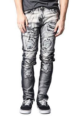 G-Style USA Men's Layered Knee Inseam Ankle Zipper Biker Sty