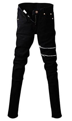 Betusline Men Fashion Gothic Punk Hiphop Zipper Slim Fit Jea