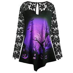Kulywon Women Fashion Halloween Lace Patchwork Asymmetrical