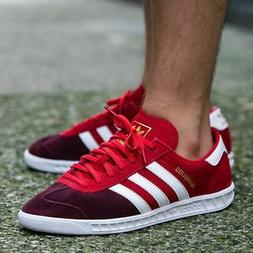 ADIDAS HAMBURG MENS RED LEATHER SUEDE SHOES JEANS CITY BERN