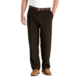 Haggar HD90219 Men's Big & Tall E-Clo Stria Dress Pant, Brow
