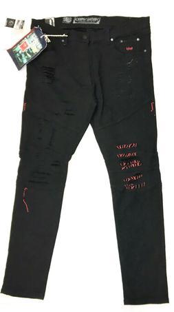 Heritage America Men's Mazza Distressed Denim Jeans, Black,