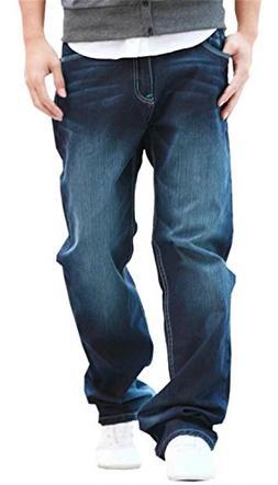 DigerLa Men's Hip Hop Baggy Denim Straight Leg Jeans Pants B