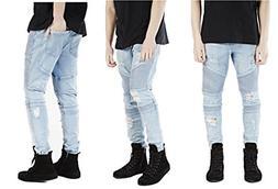 DUJUANNIAO Men Hip-Hop Jeans Casual Denim Slim Jeans Pants S