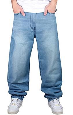 6c9c2ce875 Men s Hip Hop Loose Fit Denim Jeans Skate Baggy Jeans Pants