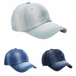 Women Men Sports Hat Outdoor Baseball Ball Cap Sun Plain Jea