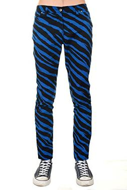 Mens Indie Emo Punk Rock Black & Royal Zebra Stretch Skinny