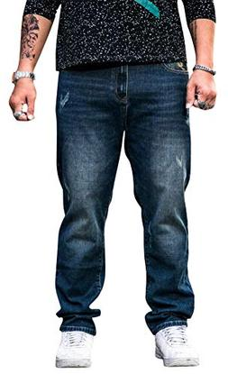 SATUKI Jeans for Men Relaxed Fit,Loose Fit Stretch Straight