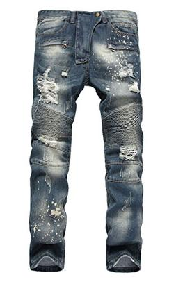 TBMPOY Jeans for Men Delim Vintage Ripped Boyfriend Carpente