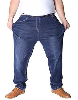 SATUKI Jeans for Men Plus Size,Loose Fit Stretch Straight Le