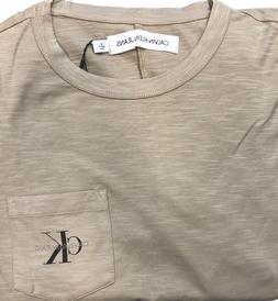 Calvin Klein Jeans Crew Neck T-shirt CK logo Pocket, Tan- Si