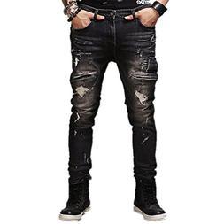 AOWOFS Men's Jeans Distressed Ripped Biker Moto Denim Pants