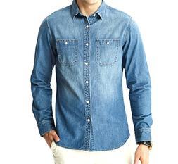 Aspop Jeans Men's Easy-Fit Denim Work Shirt L Medium Stone W