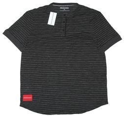 Calvin Klein Jeans Jacquard Stripe Henley Shirt Black Size L