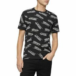 CALVIN KLEIN JEANS Men's Black Crossed All Over Logo T-Shirt